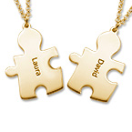 18k Gold Plated Silver Couple's Puzzle Love Necklaces
