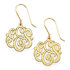 Premium Monogram Earrings 18k Gold Plated
