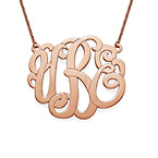 Premium Monogram Necklace in Rose Gold Plating
