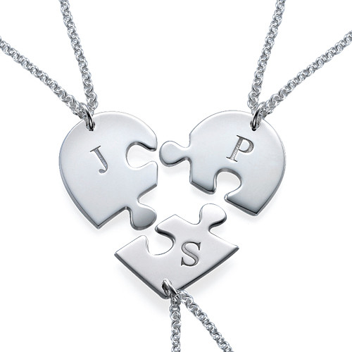 Puzzle Piece Necklace for Three with Initial - 1