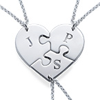 Puzzle Piece Necklace for Three with Initial