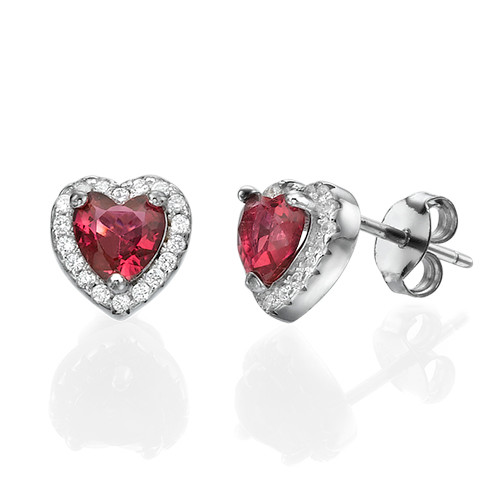 Red Cubic Zirconia Heart Stud Earrings