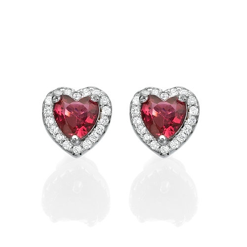 Red Cubic Zirconia Heart Stud Earrings 1