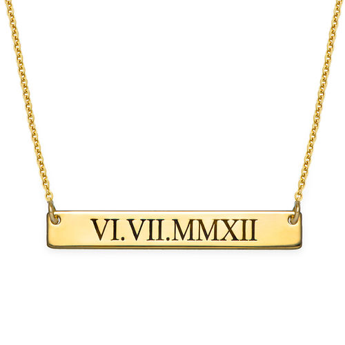Roman Numeral Bar Necklace with Gold Plating