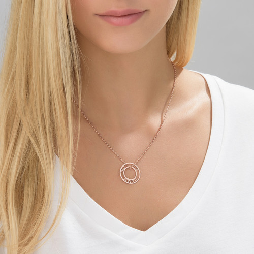 Roman Numeral Circle necklace in Rose Gold Plating - 1