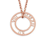 Roman Numeral Circle necklace in Rose Gold Plating