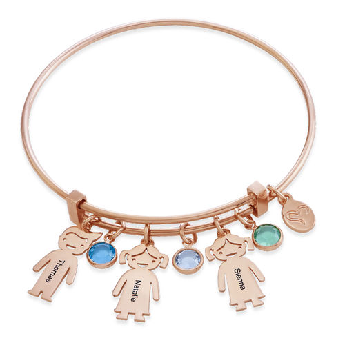 Rose Gold Plated Bangle Bracelet with Kids Charms