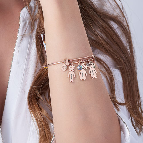 Rose Gold Plated Bangle Bracelet with Kids Charms - 2