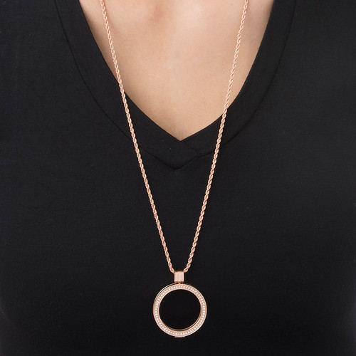 Rose Gold Plated Coin Locket with Cubic Zirconia - 2