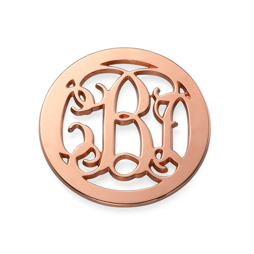 Rose Gold Plated Monogram Coin - Cut Out Design