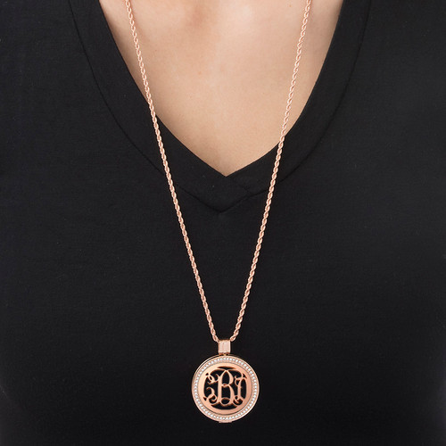 Rose Gold Plated Monogram Coin - Cut Out Design - 1