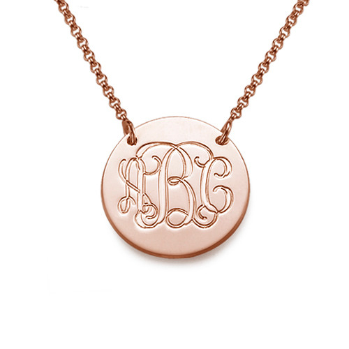 Rose Gold Plated Monogram Disc Necklace