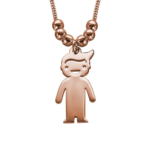 Rose Gold Plated Mother's Necklace with Children Charms - 2