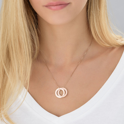 Rose Gold Plated Russian Ring Necklace with 2 Rings - 1