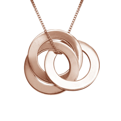 Rose Gold Plated Russian Ring Necklace with 3 Rings