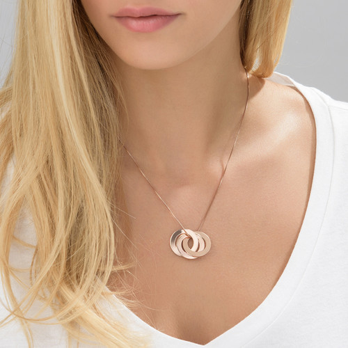 Rose Gold Plated Russian Ring Necklace with 3 Rings - 1