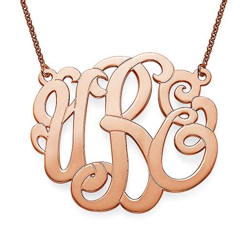 Rose Gold Plated XXL Premium Monogram Necklace