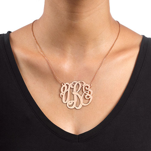 Rose Gold Plated XXL Premium Monogram Necklace - 1