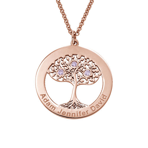 Rose Gold Plating Circle Tree of Life Necklace with Birthstones - 1