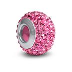 Rose Quartz Birthstone Bead with Cubic Zirconia