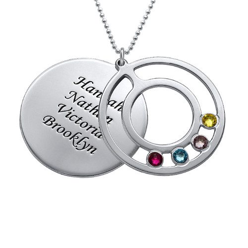 Round Birthstone Necklace for Mothers with Engraving