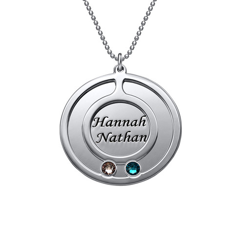 Round Birthstone Necklace for Mothers with Engraving - 2