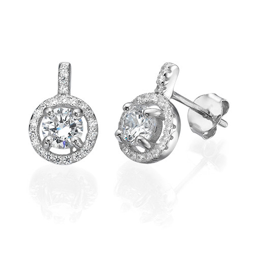 Round Cut Earrings with Cubic Zirconia