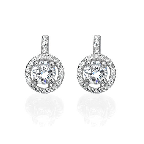 Round Cut Earrings with Cubic Zirconia - 1