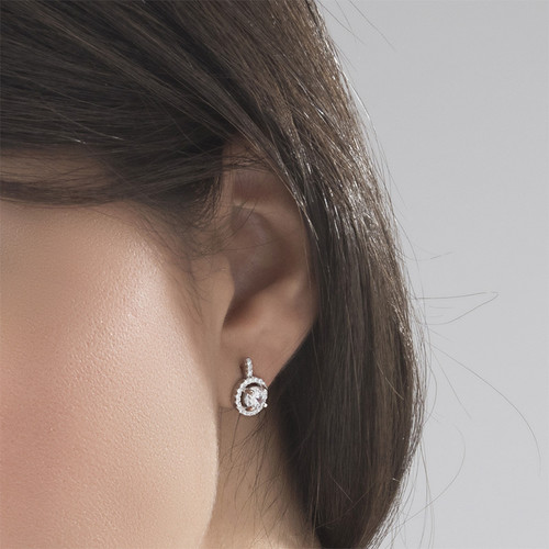 Round Cut Earrings with Cubic Zirconia - 2