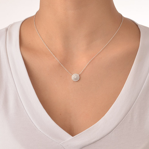 Round Disc Necklace with Cubic Zirconia - 1
