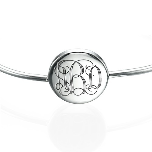 Round Monogram Bangle Bracelet in Silver - 1