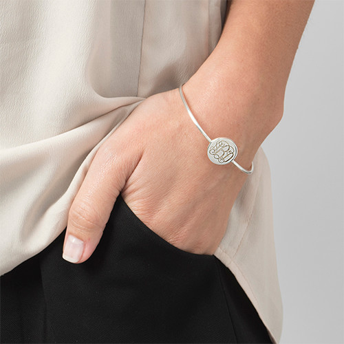 Round Monogram Bangle Bracelet in Silver - 2