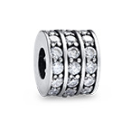 Round Silver Bead with Cubic Zirconia