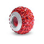 Ruby Birthstone Bead with Cubic Zirconia