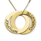 Russian Ring Necklace with 2 Rings in 10K Yellow Gold