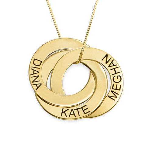 Russian Ring Necklace with Engraving in 10K Yellow Gold