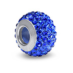 Sapphire Birthstone Bead with Cubic Zirconia