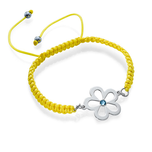 Flower Bracelet with Birthstone