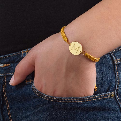 Initial Disc Friendship Bracelet in Gold Plating - 2
