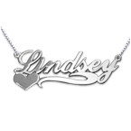 Side Heart 14k White Gold Name Necklace