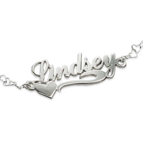 Side Heart Silver Name Bracelet / Anklet - 1
