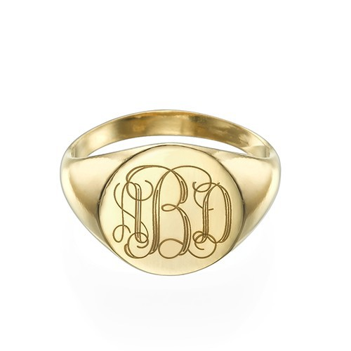 Mens Signet Ring Diamond Monogram