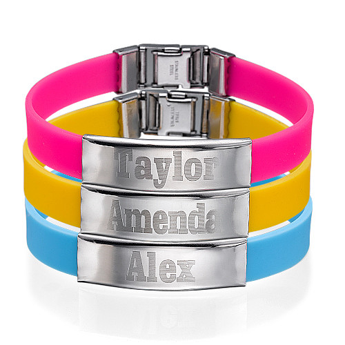 Silicone Bracelet with Personalized Stainless Steel Buckle - 1