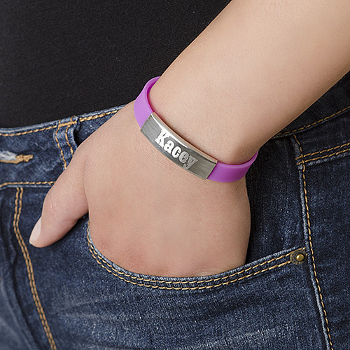 Silicone Bracelet with Personalized Stainless Steel Buckle - 2