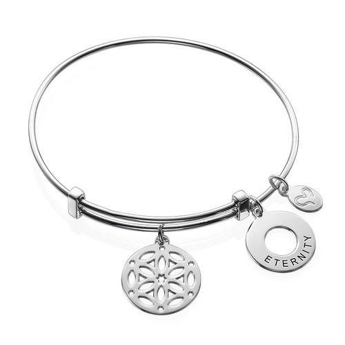 Silver Bangle Bracelet with Arabesque Charm