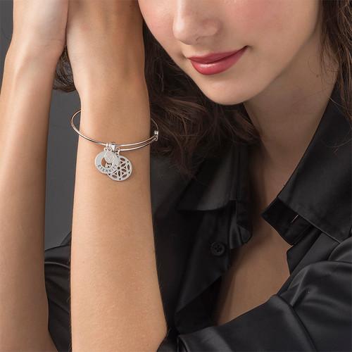 Silver Bangle Bracelet with Arabesque Charm - 1