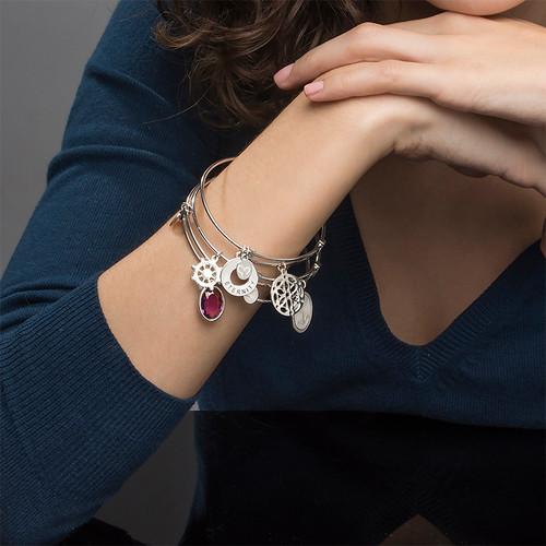 Silver Bangle Bracelet with Arabesque Charm - 2