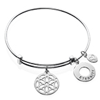 Silver Bangle Bracelet with Arabesque Charm