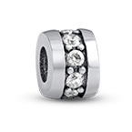 Silver Bead with Cubic Zirconia