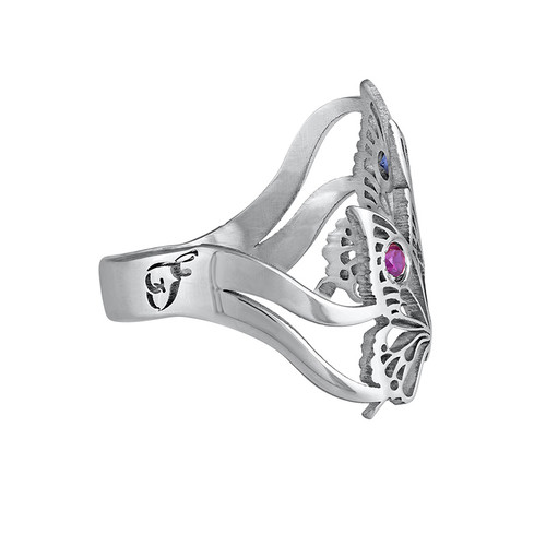 Silver Butterfly Ring with Birthstones - 1